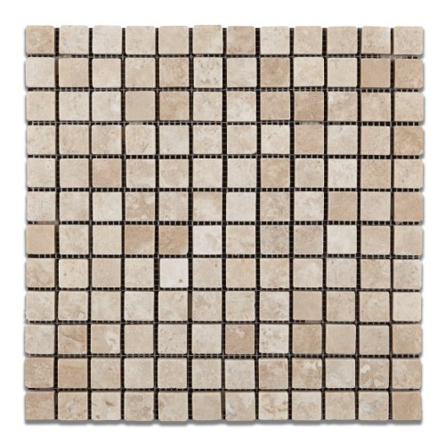 Durango Cream (Paredon) Travertine 1 X 1 Tumbled Mosaic Tile - Box of 5 Sheets