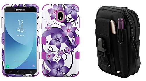 (TUFF Hybrid Series [Military Grade] Protective Case (Purple Hibiscus) with Tactical EDC MOLLE Waist Bag Holder Pouch and Atom Cloth for Samsung Galaxy J7 Star 2018 (T-Mobile))