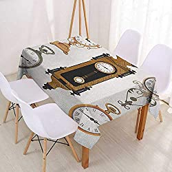 Wendell Joshua Washable Tablecloth Clock,A Set of Vintage Styled Clocks Old Fashioned Pattern in Antique Theme Design,Umber and Beige,for Kitchen Dinning Tabletop Decoratio 60x84inch