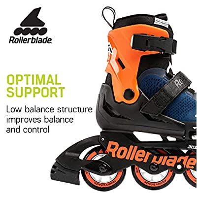 Rollerblade Microblade Boy's Adjustable Fitness Inline Skate, Midnight Blue and Warm Orange, Junior, Youth Performance Inline Skates : Sports & Outdoors