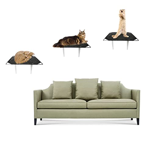 singyep® 3 piezas Con diseño de gato paso nube estantes Junta pared gato Climber pared