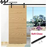 WINSOON Single Straight Style Vintage Rail Sliding Barn Wood Door Hardware Track Rollers Kit with 1PC Soft Close Mechanism (5FT)
