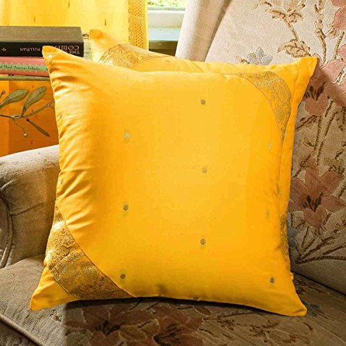 Yellow - Set of 2 Decorative handcrafted Sari Cushion Cover, Throw Pillow Case 20