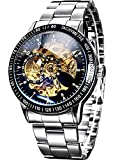 Men's Silver Stainless steel Steampunk Automatic Golden Dial Skeleton Case Mechanical Luxury Wristwatch