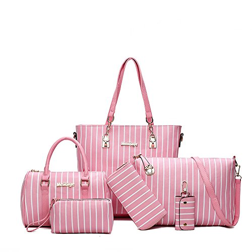 Handle White Shoulder Bags Top amp;X Handbag Purse Womens Tote 6 Pcs H Pink and Set fZ4xTq