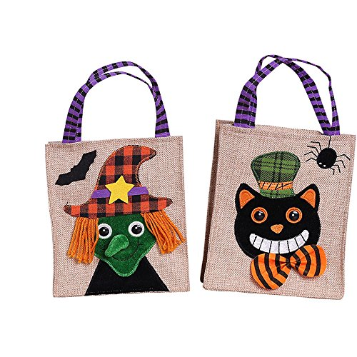 Frealm 2 Pack Halloween Candy Bag Canvas Basket for Kids Canvas Tote Bag for Trick or Treat- Smile Pumpkin and Bat Witch (Set-1)