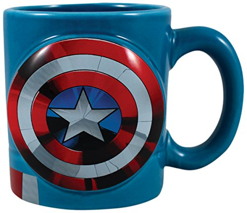Vandor 26601 Marvel Captain America Shaped Ceramic Soup Coffee Mug Cup, 20 Ounce
