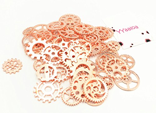 Y&Y Star 100 Gram Assorted DIY Antique Charms Pendant Alloy Round Clock Steampunk Gears Charms Pendant Clock Watch Wheel Gear for Crafting,Jewelry Making Accessory (100g Gears Rose Gold)