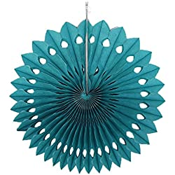 YONGSNOW 10 psc/lot 20/25/30cm Tissue Paper Fan Hanging Flower For Showers Wedding Party Birthday Festival (EF19 teal, 20cm)