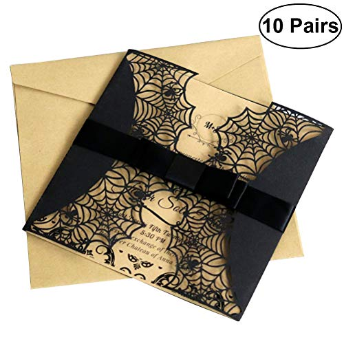 BESTOYARD 10pcs Creative Laser Cut Halloween Invitations Card Hollow Horror Party Invitations Cards Spiderweb Design Cards with Bowknots (Black)]()