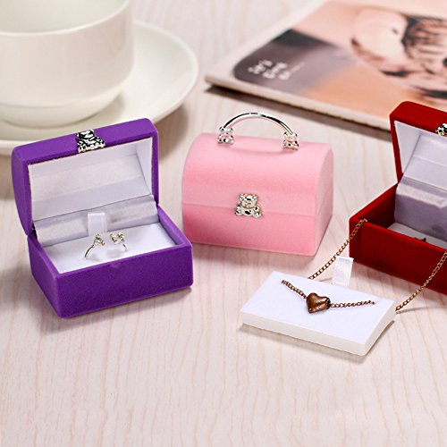 Gotian Luxury Jewelry Square Gift Box Women Earrings Rings Jewelry Packaging Display - Stylish Mini Suitcase Bag Shape - Jewelry Container - 5.7cm (L) 5.5cm (W) 3.8cm (H) (Pink)