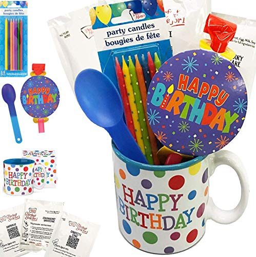 Birthday Cakes Mugs - It's a Party in a Mug - Comes With Cake, Blowout, Candles, Spoon and Birthday Mug - Women, Men, Him, Her, Kids of All Ages (Birthday Mug - Party in a Mug! Dots)
