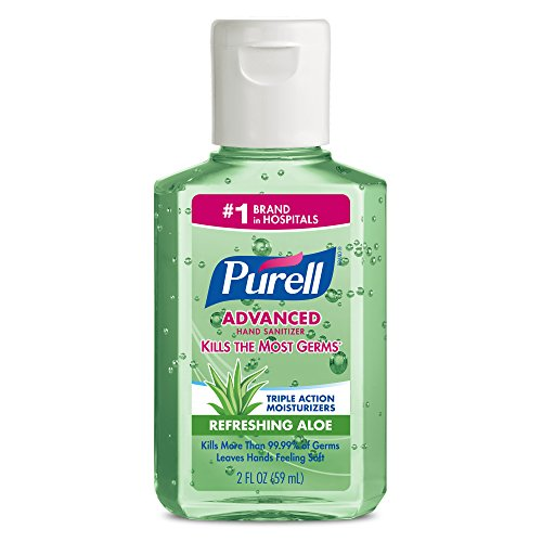 PURELL Advanced Hand Sanitizer Gel, Refreshing Aloe, 2 fl oz Sanitizer Portable, Travel Sized Flip Cap Bottles (Pack of 6) – 9682-04-EC