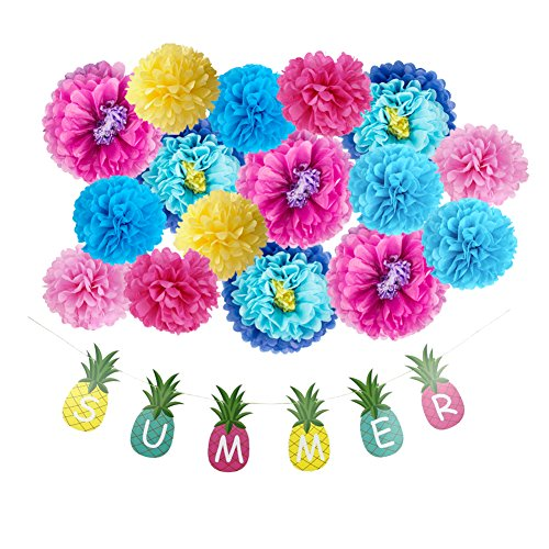 (Tissue Paper Flowers DIY Party Backdrop Summer Pineapple Banner Luau Tropical Party Nursery Wall Decoration 17 Pieces, All in One Pack)