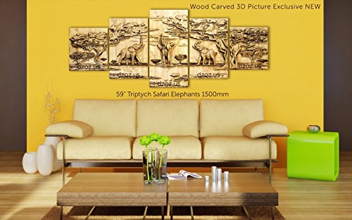 59'' Triptych Safari Elephants Exclusive NEW 150cm Wood carving 3D painting icon orthodox art by Wood Carving Dzoz