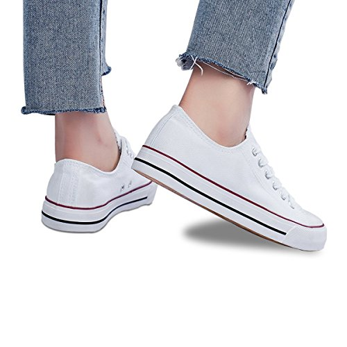 Womens Canvas Sneakers Low Cut Lace Ups Casual Walking Shoes(White,US10) by FRACORA (Image #8)