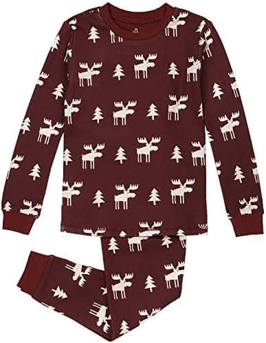 Kid's Holiday Sleepwear, Matching 2-Piece Quality Stretchy Cotton Pajama Set