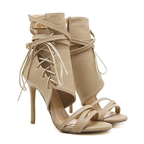 Womens Ankle Cuff Open Toe Sandals High Heels Lace Up Strappy Roman Shoes Party Boots with Side Zipper (US:7.5 (UK:5 /EU:39 /CN:40), Khaki)