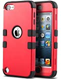 iPod Touch 6 Case,iPod 6 Cases,6th Case,ULAK [Colorful Series] 3-Piece Style Hybrid Silicon Hard Case Cover for Apple iPod Touch 5 6th Generation_2015 Realeased (Red/Black)