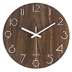 MixArt 12 Vintage Arabic Numeral Design Rustic Country Tuscan Style Wooden Decorative Round Wall Clock Silent Non-Ticking Battery Operated Indoor Clock