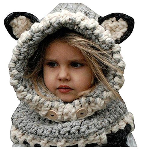 Knitted Neck Scarves - Winter Warm Knitted Beanies Caps Hood Scarf Animal Ear Hat Scarves for Children