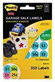 Post-it Garage Sale Labels, Write Only, Assorted Colors, 3/4 Inch, 10 Sheets per Pack, 350 Labels per Pack (6100-GS)
