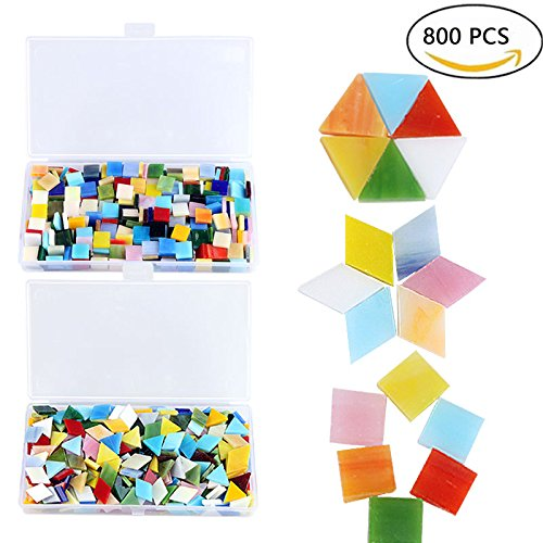 800 Pieces Mixed Color Mosaic Tiles Mosaic Glass Pieces with Organizing Container for Home Decoration or DIY Crafts, Square,Triangle, rhombus, - Glasses 800