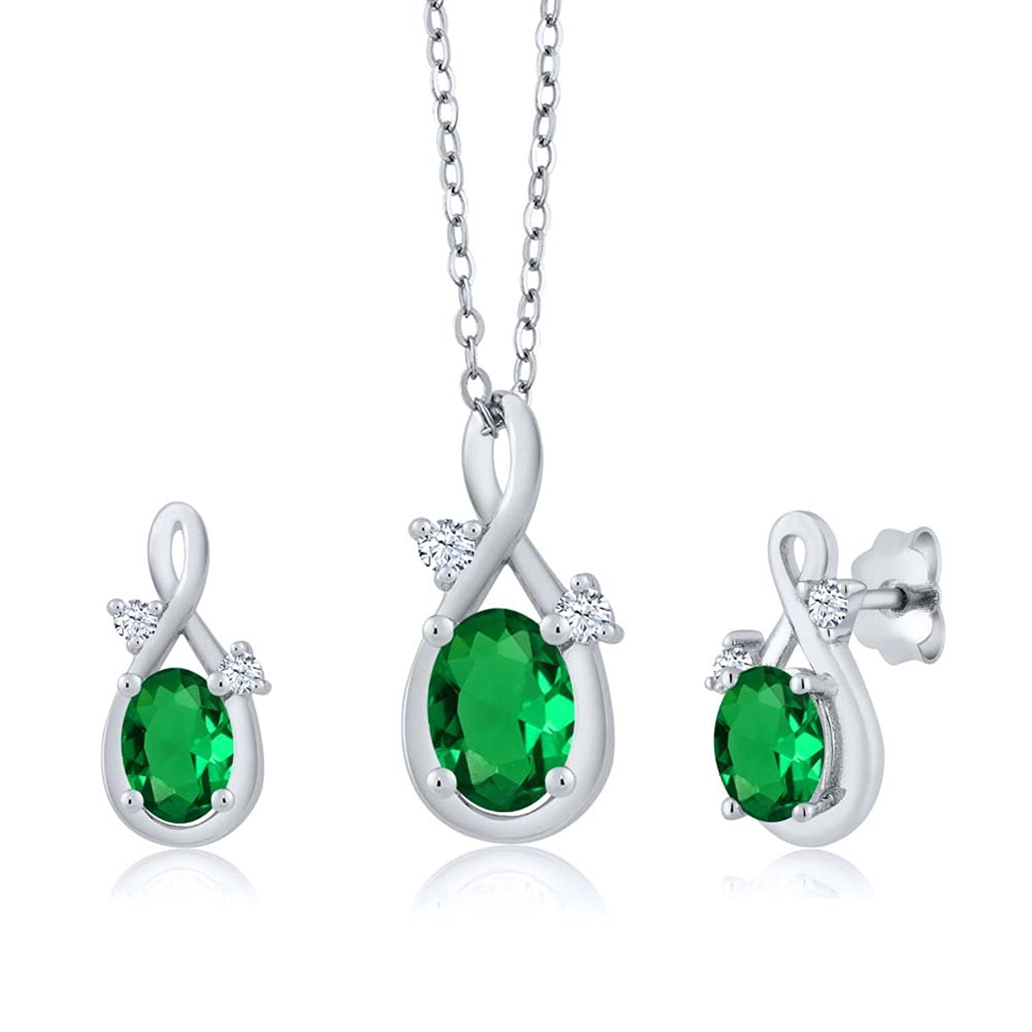 1.49 Ct Oval Green Simulated Emerald 14K White Gold Pendant Earrings Set