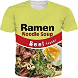 SKYRAINBOW Unisex Short Sleeve Ramen Noodle Soup Graphic 3D Digital Printed Cool Beef Crew Neck T-Shirt Tees