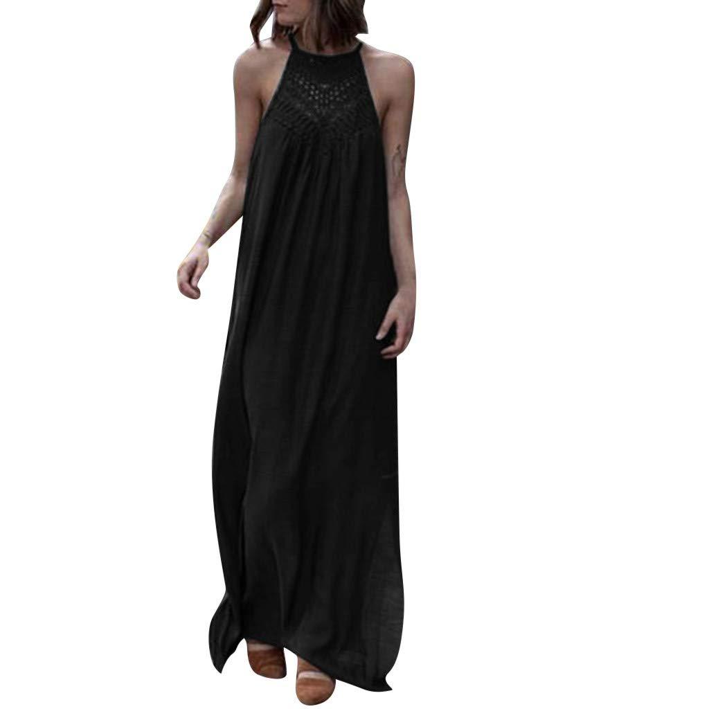 Womens Hanging Neck Sleeveless Dress lace Hollow Loose Large Dress Loose Loose Casual Long Dress