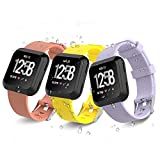 iCozzier For Fitbit Versa Strap Bands, Adjustable Soft Silicone Sport Wristband Replacement Strap Multi Colors for Fitbit Versa Smartwatch, Small(5.5''- 7.1'')/Large(7.1''- 8.7'')