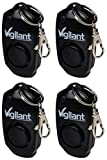 4-Pack Vigilant 130dB Personal Alarm - Backup Whistle - Button Activated with Hidden Off Button - Bag Purse Key Chain Keyring Clip - Batteries Included - for Men Women Kids Students (PPS-23BLK 4 Pack)