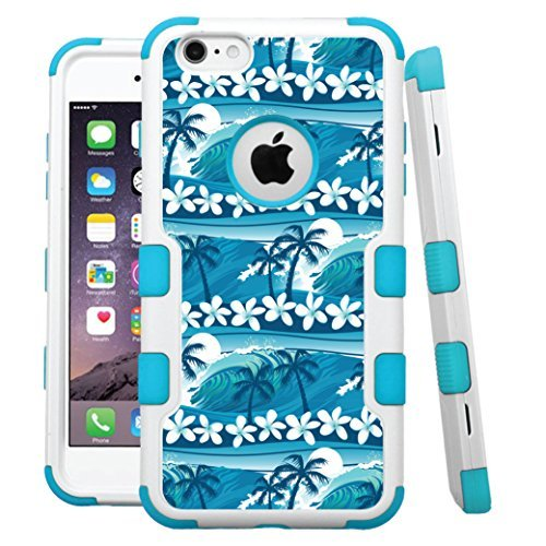 "iPhone 6 /6s Case, HJ Power[TM] For Apple iPhone 6 / 6s 4.7"" (All Carrier) ~ NATURAL TUFF Hybrid Rubber Hard Snap-on Case Teal Blue White-Blue Surfing Waves"