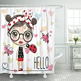 VaryHome Shower Curtain Blue Drawn Cute Cartoon Girl with Ladybug and Butterflies Pink Actions Baby Waterproof Polyester Fabric 72 x 72 inches Set with Hooks