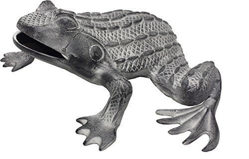 """GiftBay Garden Frog Sculpture, Solid Cast Aluminum Metal, 11"""" Length"""