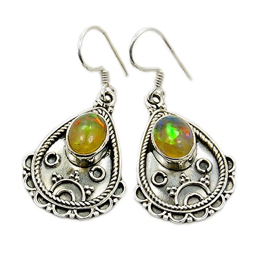 Opal Vintage Earrings - Vintage Style Sterling Silver Ethiopian Opal Dangle Earrings