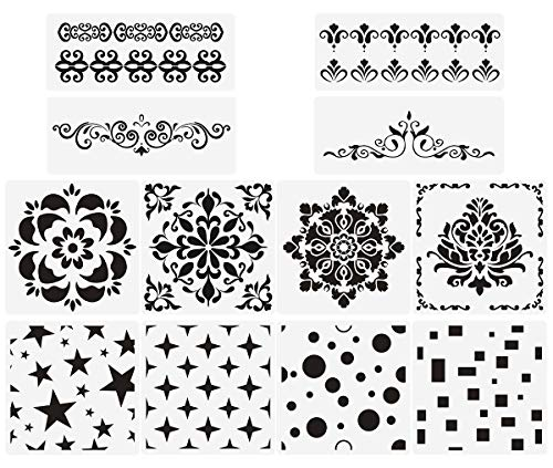 Premium Quality Reusable Stencils Set of 12 Laser Cut Painting Stencil Floor Wall Tile Fabric Wood Stencils (White)