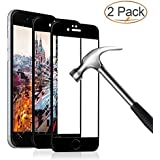 iPhone 8 7 Screen Protector, Eglass Full Coverage Tempered Glass Screen Protector Film Edge to Edge Protection for Apple iPhone 7, iPhone 8, 4.7 Inch (2-Pack for iPhone 8 / 7 / Black)