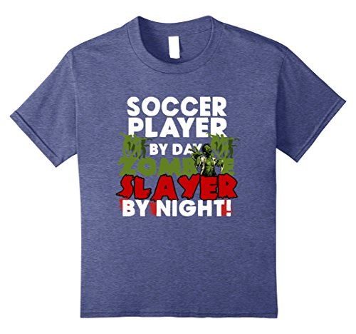 Soccer Player Girl Costume (Kids Funny Halloween Tee Shirts Soccer Player Zombie Slayer Shirt 8 Heather Blue)
