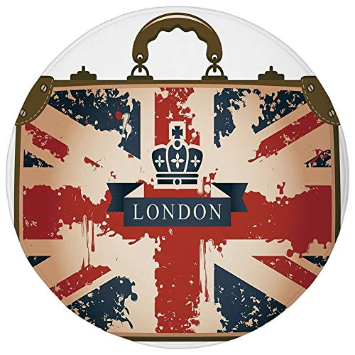 Round Rug Mat Carpet,Union Jack,Vintage Travel Suitcase with British Flag London Ribbon and Crown Image Decorative,Dark Blue Red Brown,Flannel Microfiber Non-slip Soft Absorbent,for Kitchen Floor -