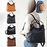Brenice Cowhide Tote Handbags Vintage Multifuntion Backpack Shoulder Bags Black 15.16''x 3.35''x 14.17''(LxWXH)
