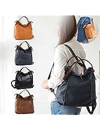 Brenice Cowhide Tote Handbags Vintage Multifuntion Backpack Shoulder Bags