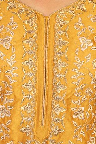 BIBA Women's Straight Cotton Silk Suit Set 42 Mustard by Biba (Image #3)