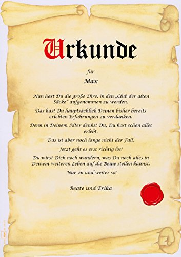 Urkunde ALTER SACK Club Der Alten Säcke Personalisiert Geschenk Karte  Pergament Div. A4 Papier Motive: Amazon.de: Bürobedarf U0026 Schreibwaren