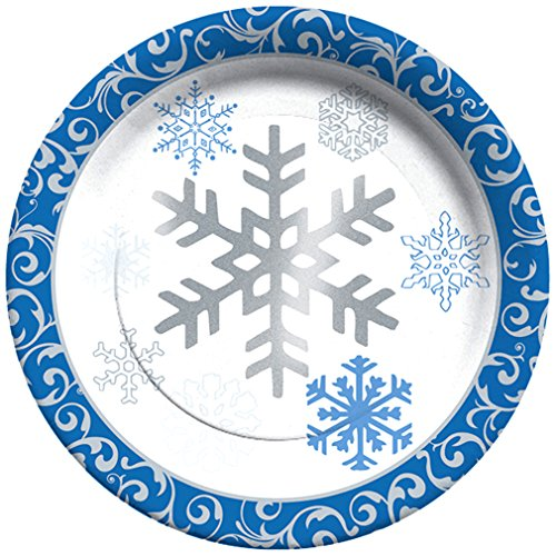 C.R. Gibson Winter Snowflakes 8 Count Paper Lunch/Dessert Plates, - Blue Winter Paper