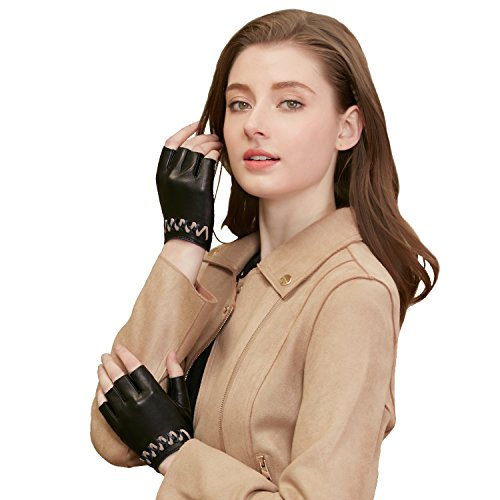 (GSG Womens Driving Gloves Half Finger Ladies Fingerless Leather Gloves Dance Trendy Weave Cycling Party Prom Show Black 7.5)