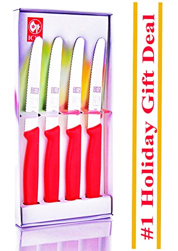 Adorable Gift Item, 4.25-inch 4 piece Set Steak Knives in Gift Box, (Adorable 4 Piece)