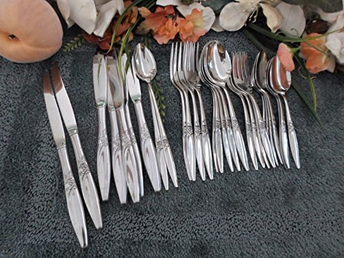 1881 Rogers Oneida - Oneida 1881 Rogers USA Vintage Stainless Flatware HIGHLAND ROSE 36pcs 4 Place Sets+ 7 Serving