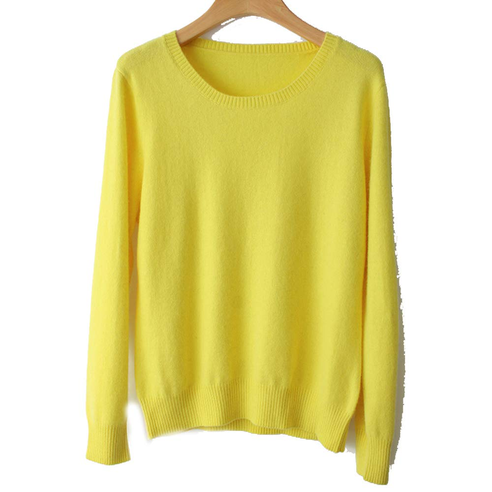 WNDSYN Spring Winter O-Neck Cashmere Wool Sweater Women Solid Big Pullovers Jumper Knitted Sweaters Yellow M