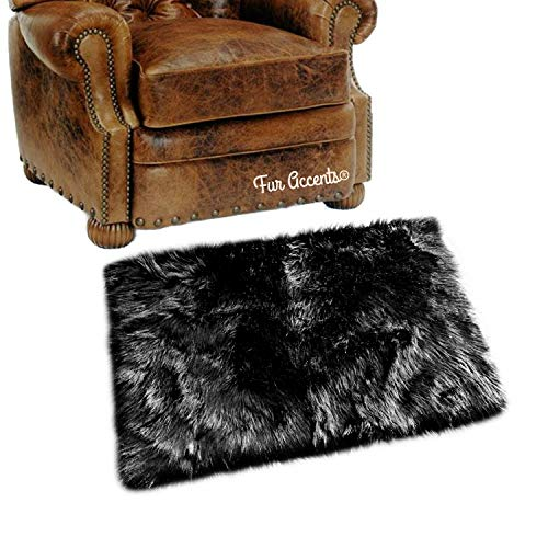 Shag Carpet - Extraordinary Faux Fur Rug - Accent - Area Rug - Throw Rug and Design - Hand Made in The USA (3'x3', Black)